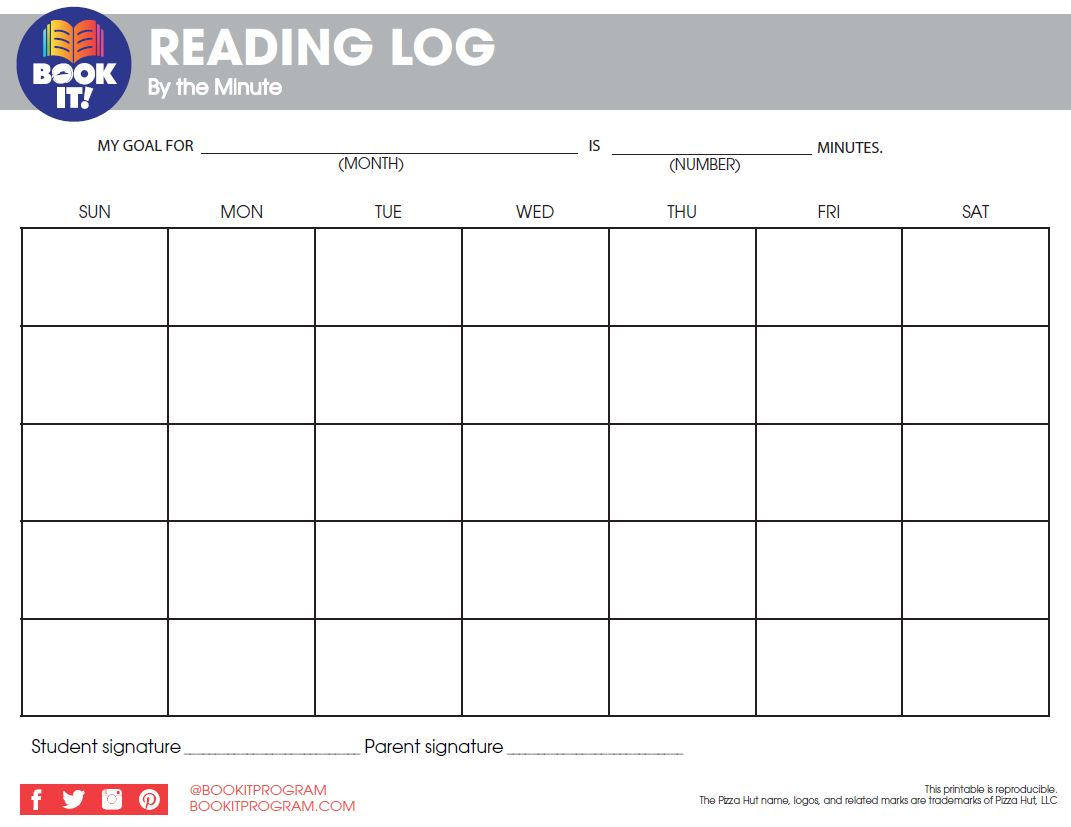 Blank Monthly Reading Log