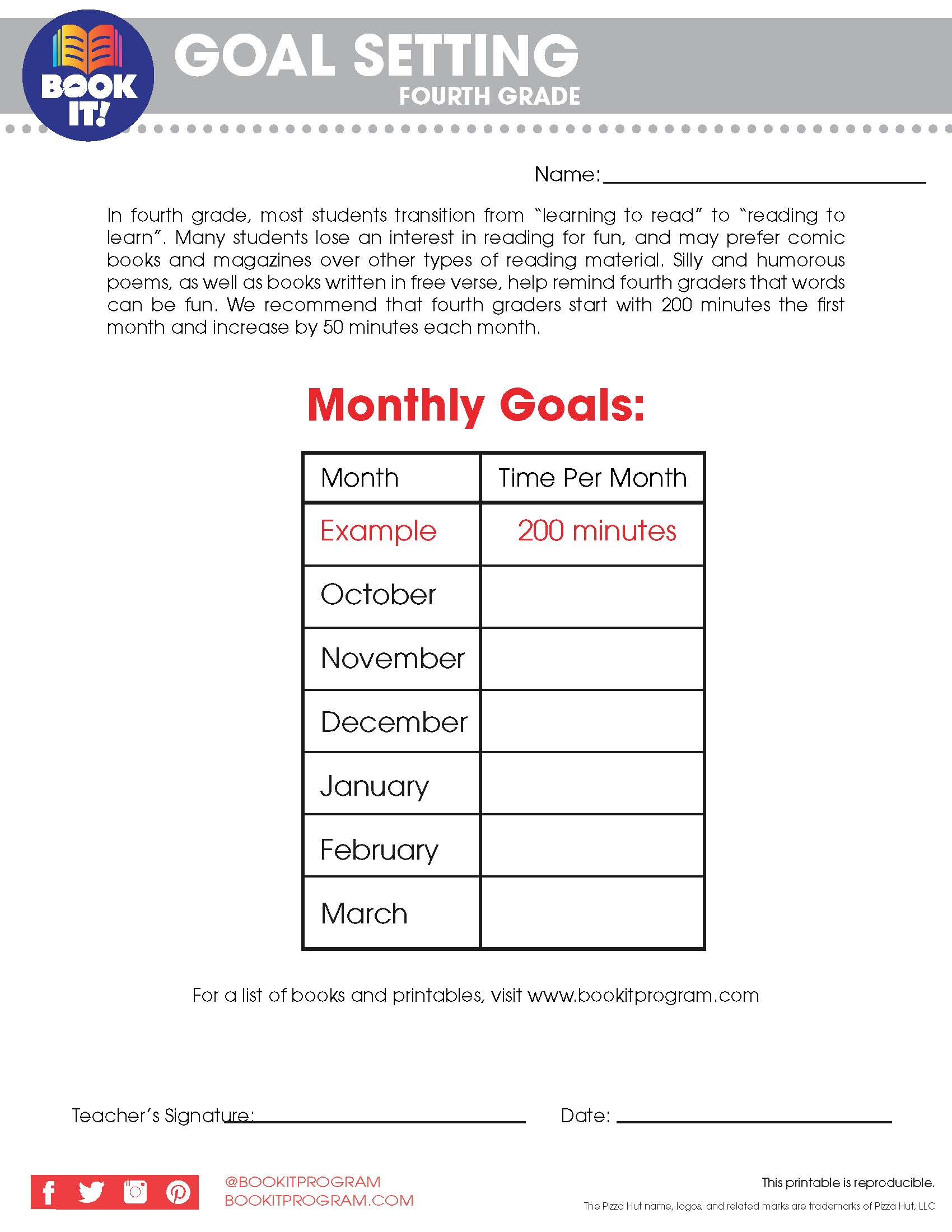Goal Setting-Fourth Grade