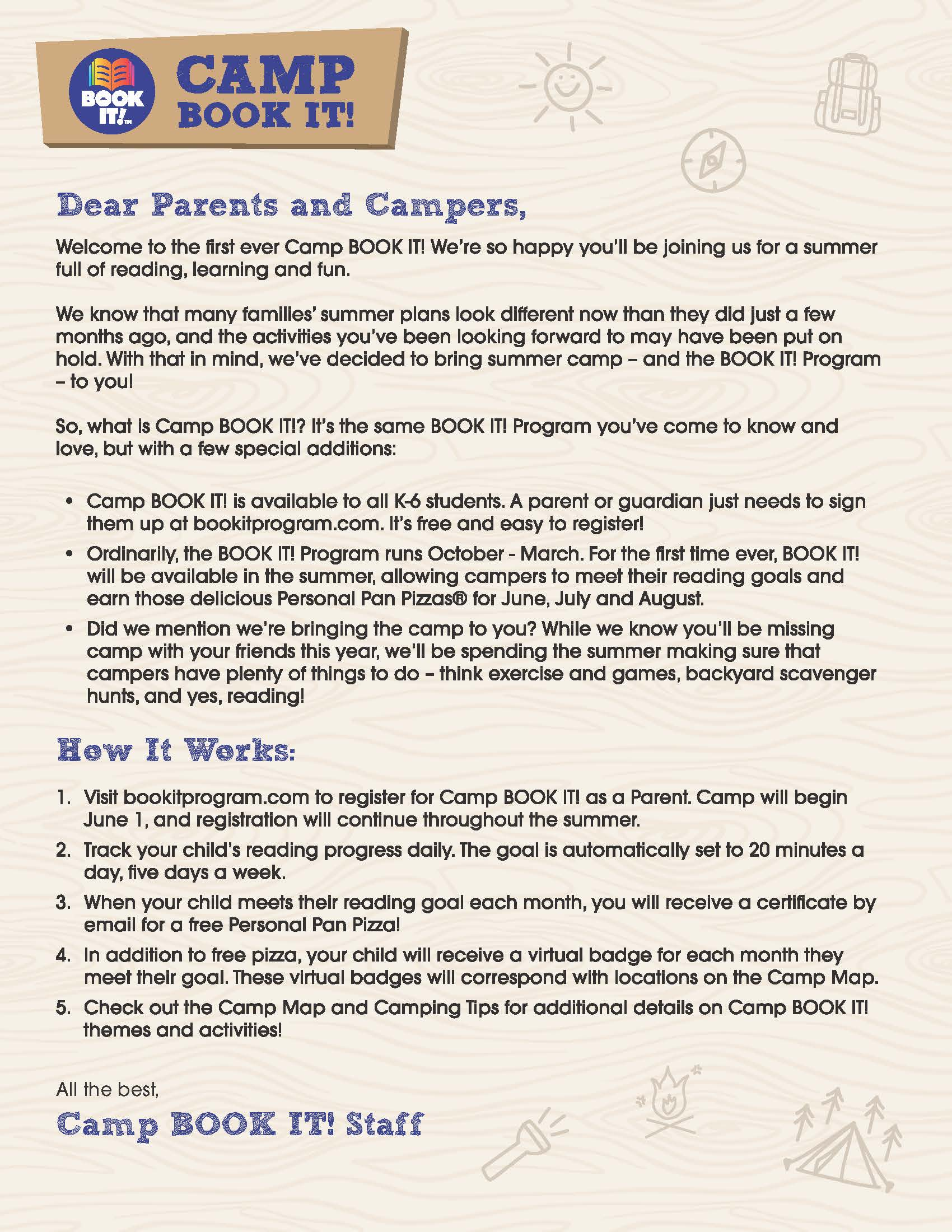 Camp BOOK IT! Welcome Letter