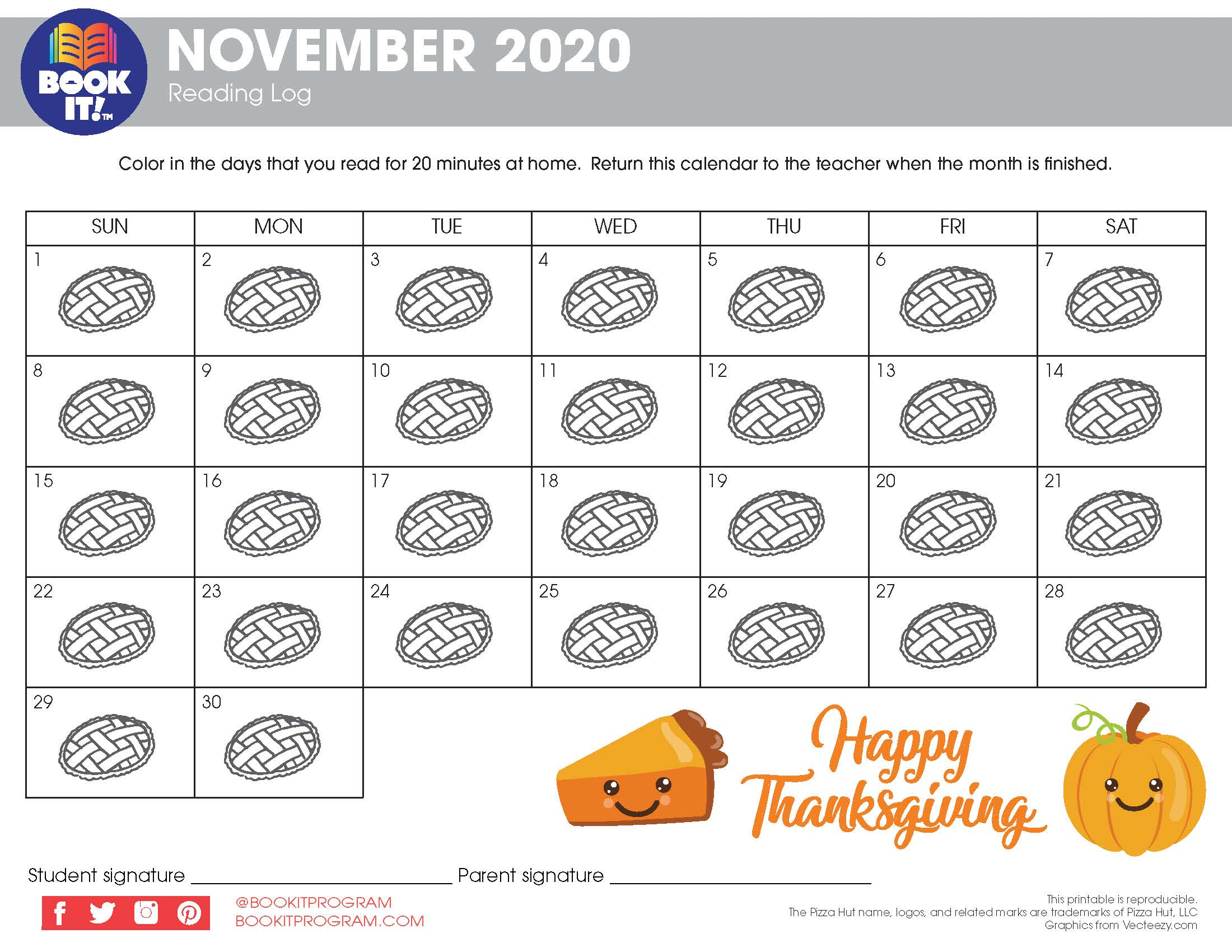 November Tracking Calendar-Holiday   The Pizza Hut BOOK IT ...